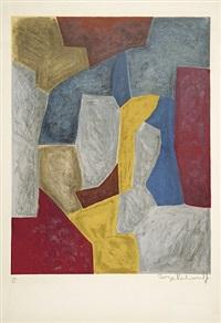 composition carmin, jaune, grise et bleue by serge poliakoff