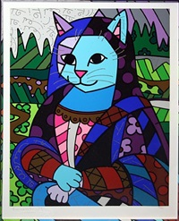 mona cat by romero britto