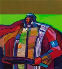 warrior with breast plate, 1986 by john nieto
