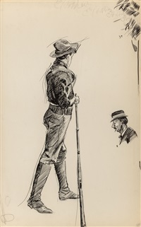 boy with rifle and bust of woman (double-sided work) by edward hopper