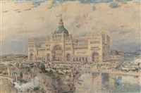 the mackaye spectatorium with iowa pavillion in foreground, columbian exposition by childe hassam