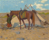 umatilla wickiup with waiting pony by eanger irving couse