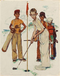 missed (four sporting boys: golf), preliminary brown & bigelow four seasons calendar illustration, summer by norman rockwell