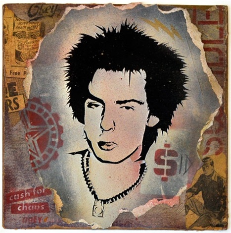 sid vicious (retired stencil collage) by shepard fairey