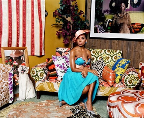 portrait of lili in color by mickalene thomas