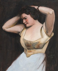 woman with bracelet (between the acts) by walt kuhn