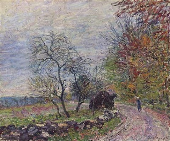 le long du bois en automne by alfred sisley