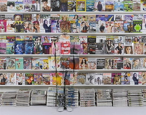 hiding in new york, no. 3 - magazine rack by liu bolin