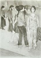 street scene(sepia) by raphael soyer