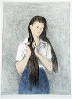 girl with long hair by raphael soyer