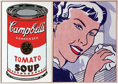 roy lichtenstein, 'the refrigerator,' 1961 and andy warhol, 'large campbell's soup can, tomato,' 1964 by richard pettibone