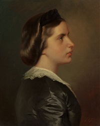 portrait of a young woman in profile by franz xaver winterhalter