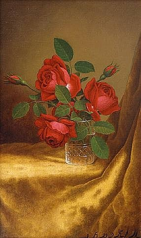 red roses in a crystal goblet by martin johnson heade