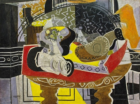 still life with guitar i (red tablecloth) by georges braque
