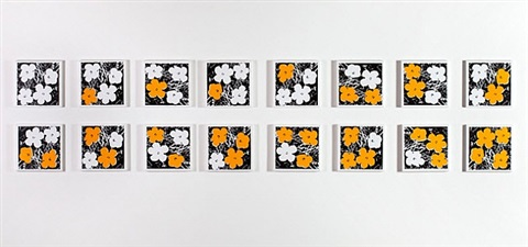 andy warhol, 'flowers,' 1965, white-yellow, 16 variations by richard pettibone