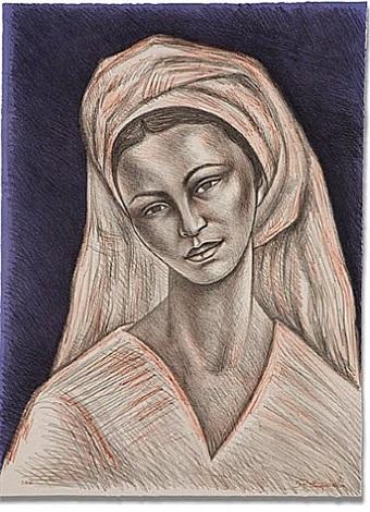 mujer con rebozo blanco by raúl anguiano