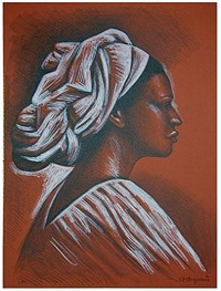 woman with turban by raúl anguiano