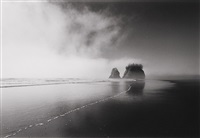 fog and sea stacks, washington by bob kolbrener