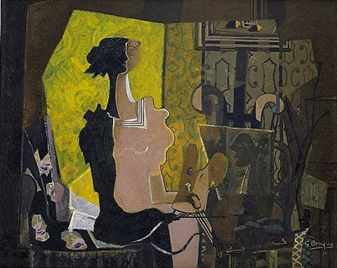 woman at an easel (yellow screen) by georges braque