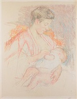 mother jeanne nursing her child (profile left) (no. 3) by mary cassatt