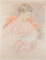 mother jeanne nursing her child (profile left) (no. 3) by mary cassatt