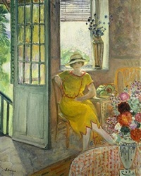 nono in alcove with bouquet of flowers by henri lebasque