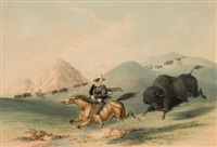 north american indian portfolio, buffalo hunt, chasing back (plate 12) by george catlin