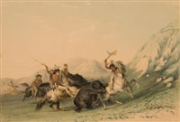 north american indian portfolio, attacking the grizzly bear (plate 19) by george catlin