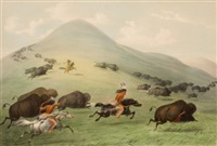 north american indian portfolio, buffalo hunt, horseback (plate 6) by george catlin