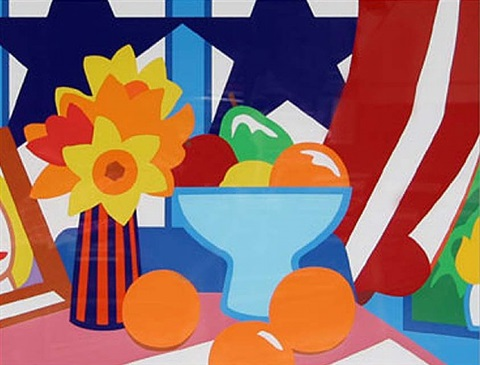 still life with blowing red curtain by tom wesselmann