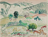landscape with horses by william zorach
