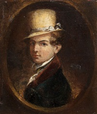 portrait of a man in a top hat by samuel f.b. morse