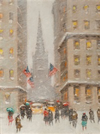 old trinity at wall street, new york by guy carleton wiggins