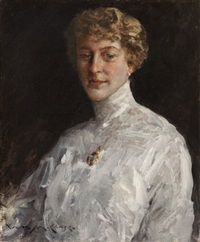 lady in a white blouse by william merritt chase