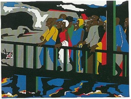 confrontation at the bridge by jacob lawrence
