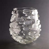 ritsue mishima glass vase with oval appliqués by ritsue mishima
