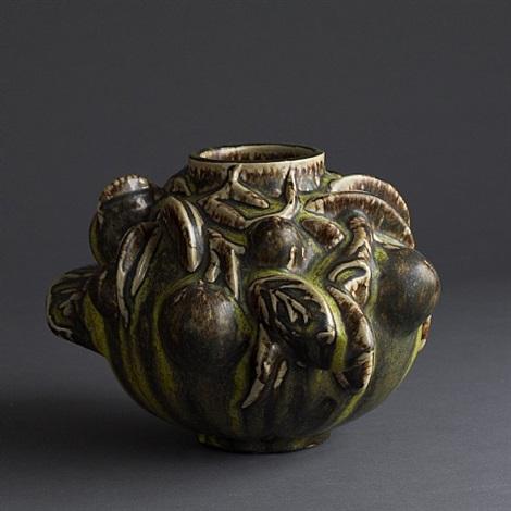 """axel salto """"fruiting"""" vase with solfatara glaze by axel johann salto"""