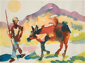man with cow, st. maarten by romare bearden