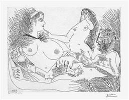 belle jeune femme a sa toilette revant qu'elle possede un petit homme des bois emacie portant un oiseau, from the 156 series, 5 june by pablo picasso