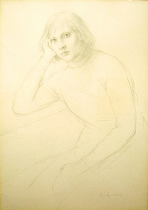 girl in turtleneck by william h. bailey