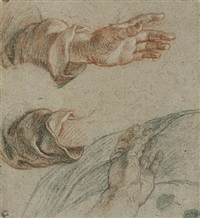 recto: studies of hands<br>verso: study of a young woman by charles de la fosse