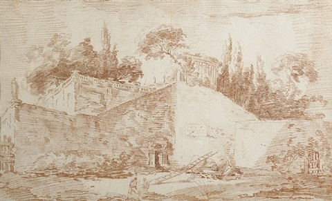architectural caprice with walls of a villa by hubert robert