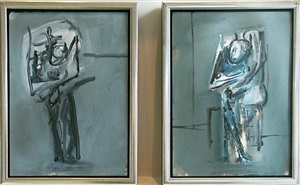 figure study, 1953 and figure study by nicolas carone