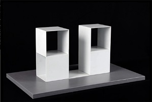 two two-part pieces using a cube with opposite sides removed by sol lewitt
