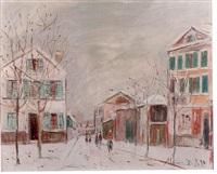 bourg la reine, sous la neige by maurice utrillo