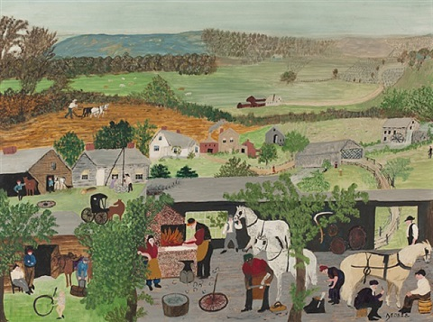 horse shoeing by grandma moses