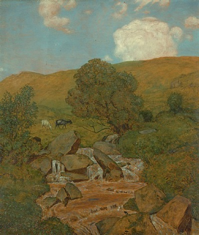 ziegen am wiesenbach by hans thoma