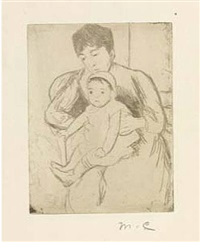 preparing bill for an outing by mary cassatt