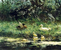 ducks with ducklings by constant artz