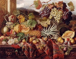 still life with mixed fruit & a rug with landscape beyond by william duffield
